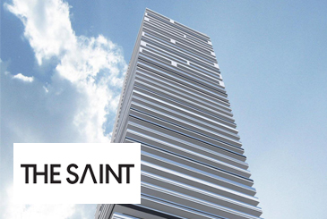 Exterior rendering of The Saint Condos with logo overlay.