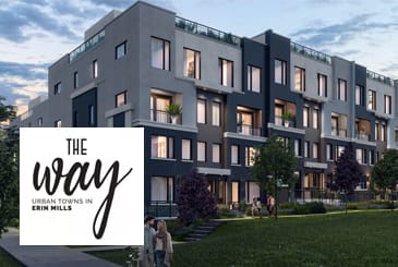 Exterior rendering of The Way Towns 2 with logo overlay.