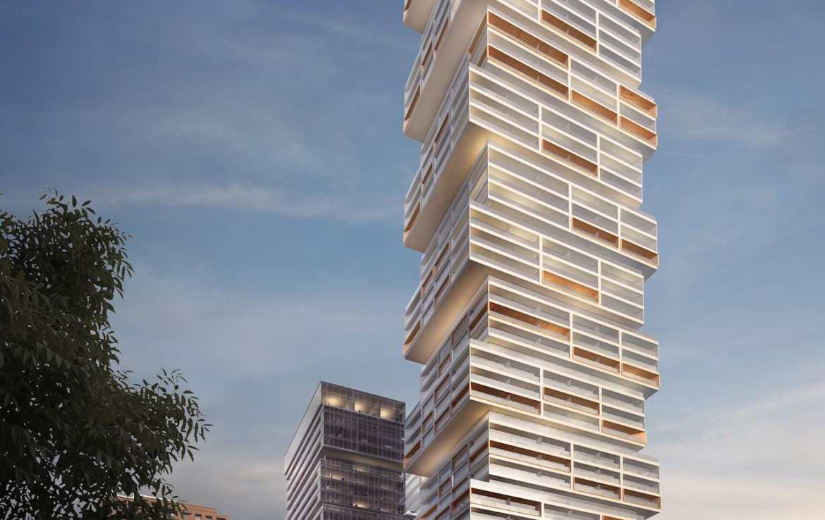 Full exterior rendering of 88 East Condos.