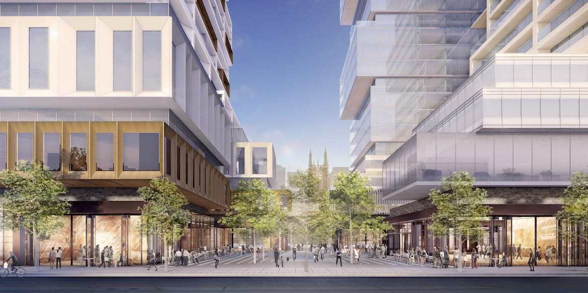 Rendering of 88 East and 88 West Condos street-view.