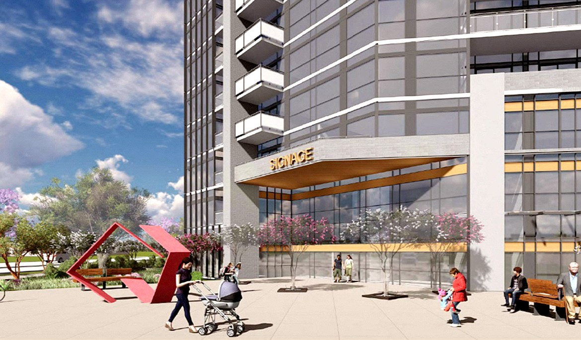 Exterior rendering of Connectt Condos street-level stores.