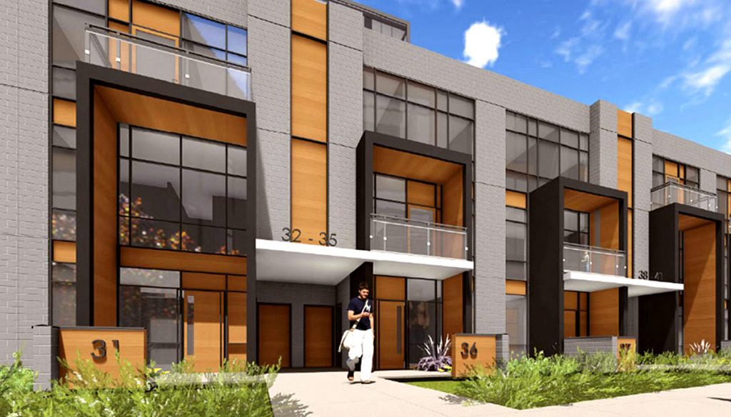 Exterior rendering of Connectt townhome entrance.
