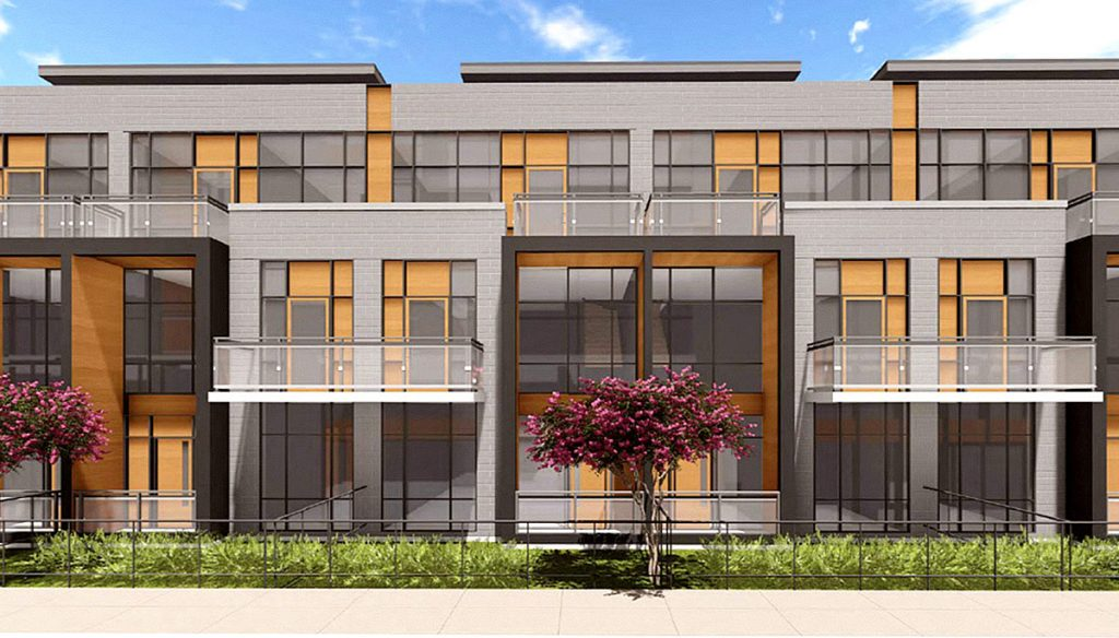 Exterior rendering of Connectt townhomes front-view.