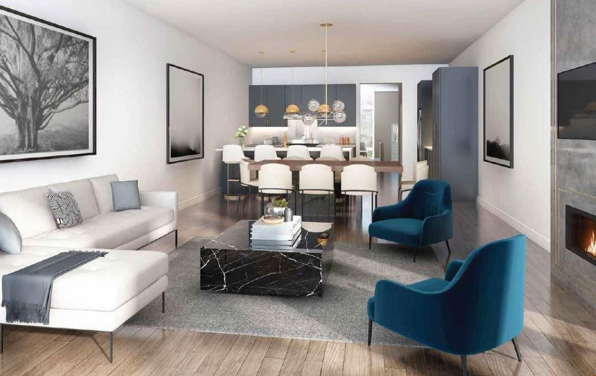 Interior rendering of The Riverside Residences kitchen and living room.