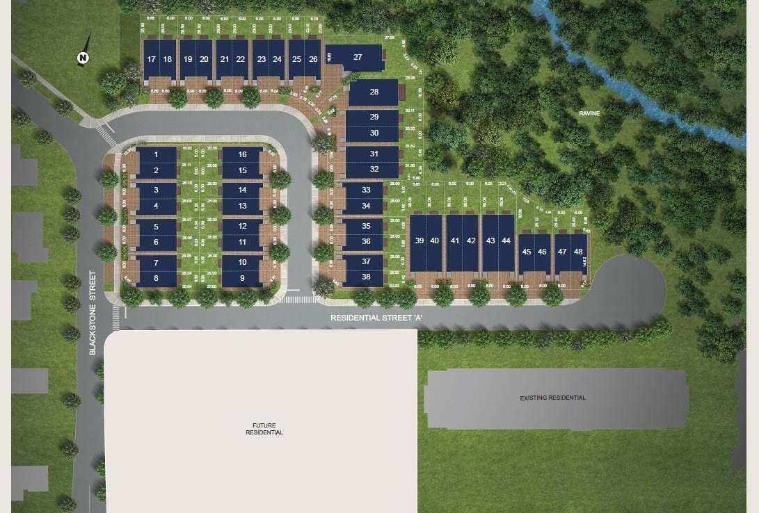 Site plan rendering of The Riverside Residences.