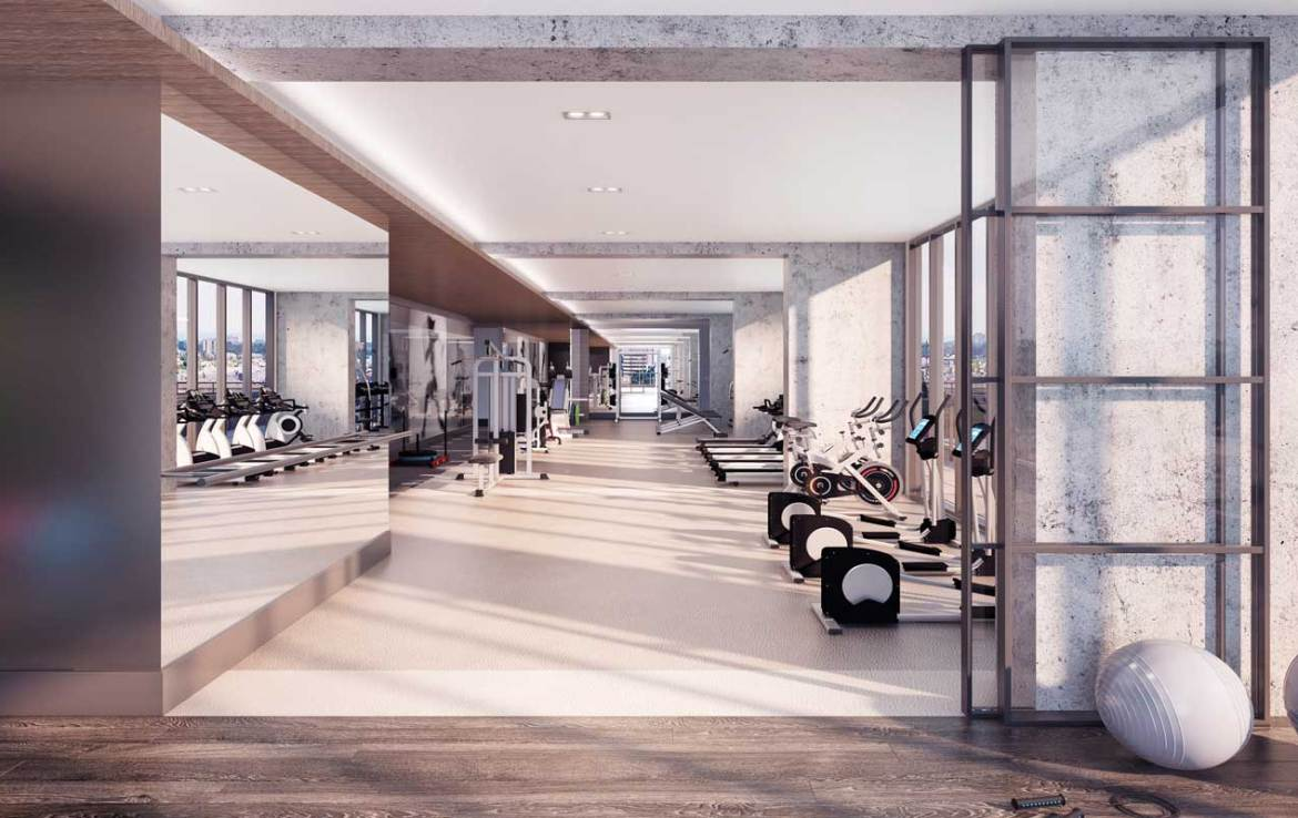Gym rendering of Sixty-Five Broadway Condos.