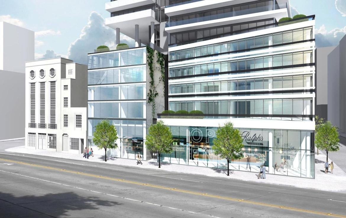 Street-view partial rendering of The Saint Condos.