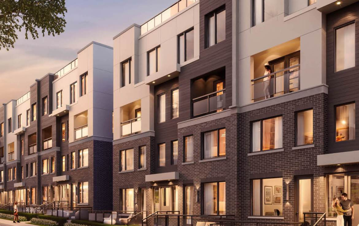 Exterior rendering of The Way Towns 2 in the evening.