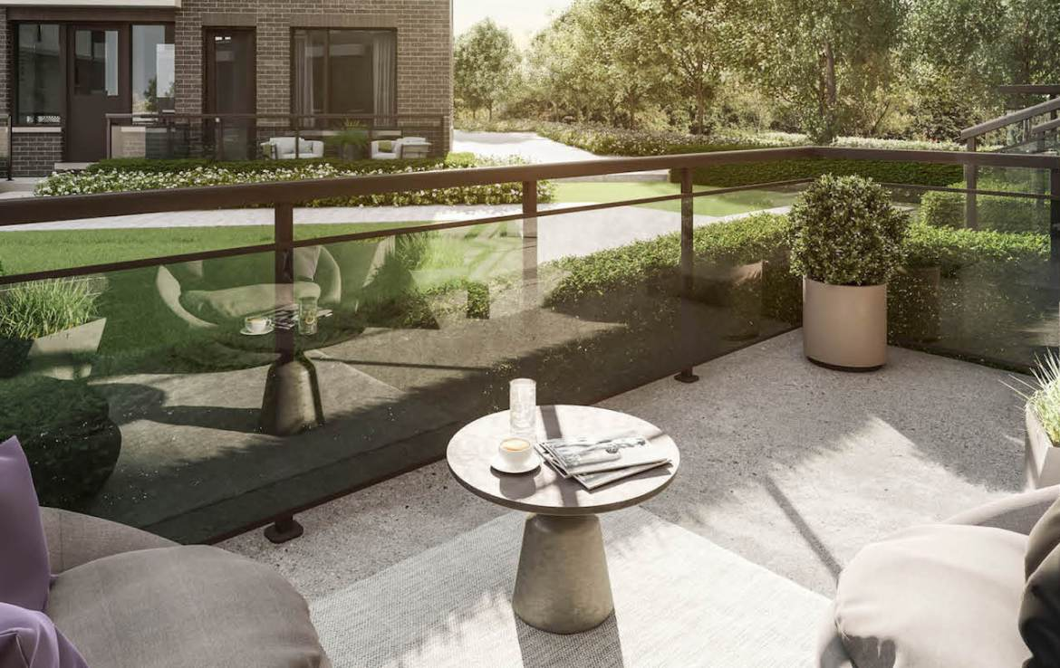 Rendering of The Way Towns 2 main level terrace.