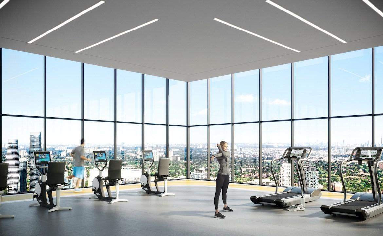 Rendering of EX2 Condos fitness centre.