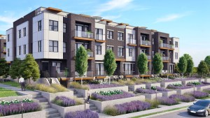 Rendering of 20Twenty Towns building exterior with lavender garden.
