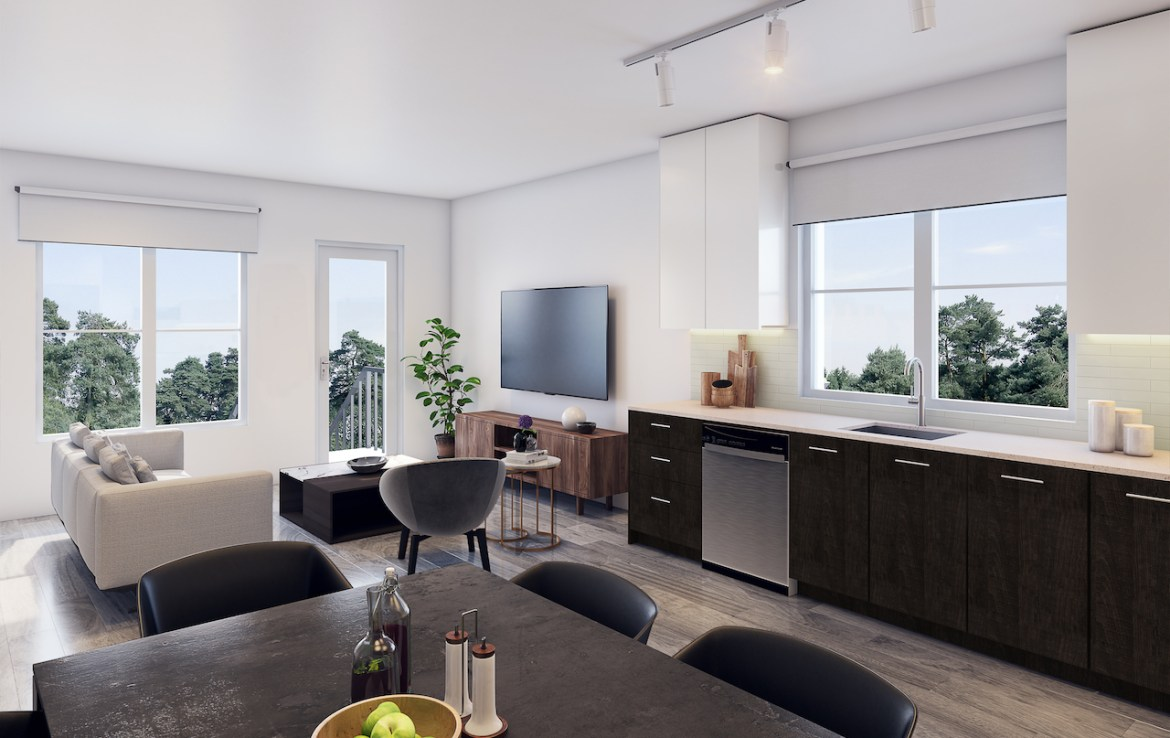Rendering of 20Twenty Towns suite interior kitchen and dining area.