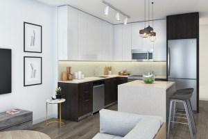 Rendering of 20Twenty Towns suite interior kitchen.