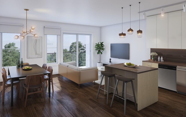 Rendering of 20Twenty Towns suite interior open-concept main living area.