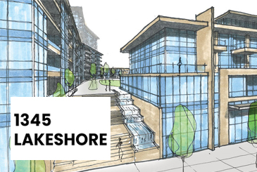 Sketch of 1345 Lakeshore Road Condos with logo overlay.