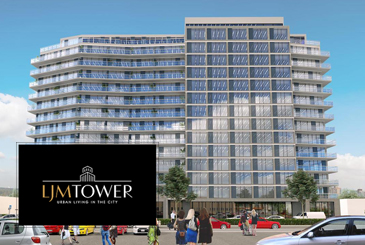 Exterior rendering of LJM Tower Condos with logo overlay.