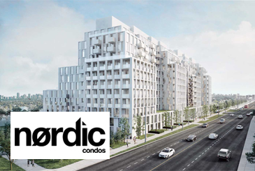Exterior rendering of Nordic Condos with a logo overlay.