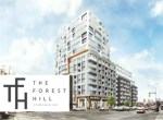 Exterior rendering of The Forest Hill Condos Toronto with logo overlay.