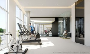 Rendering of Promenade Park Towers fitness centre with a man on an elliptical.