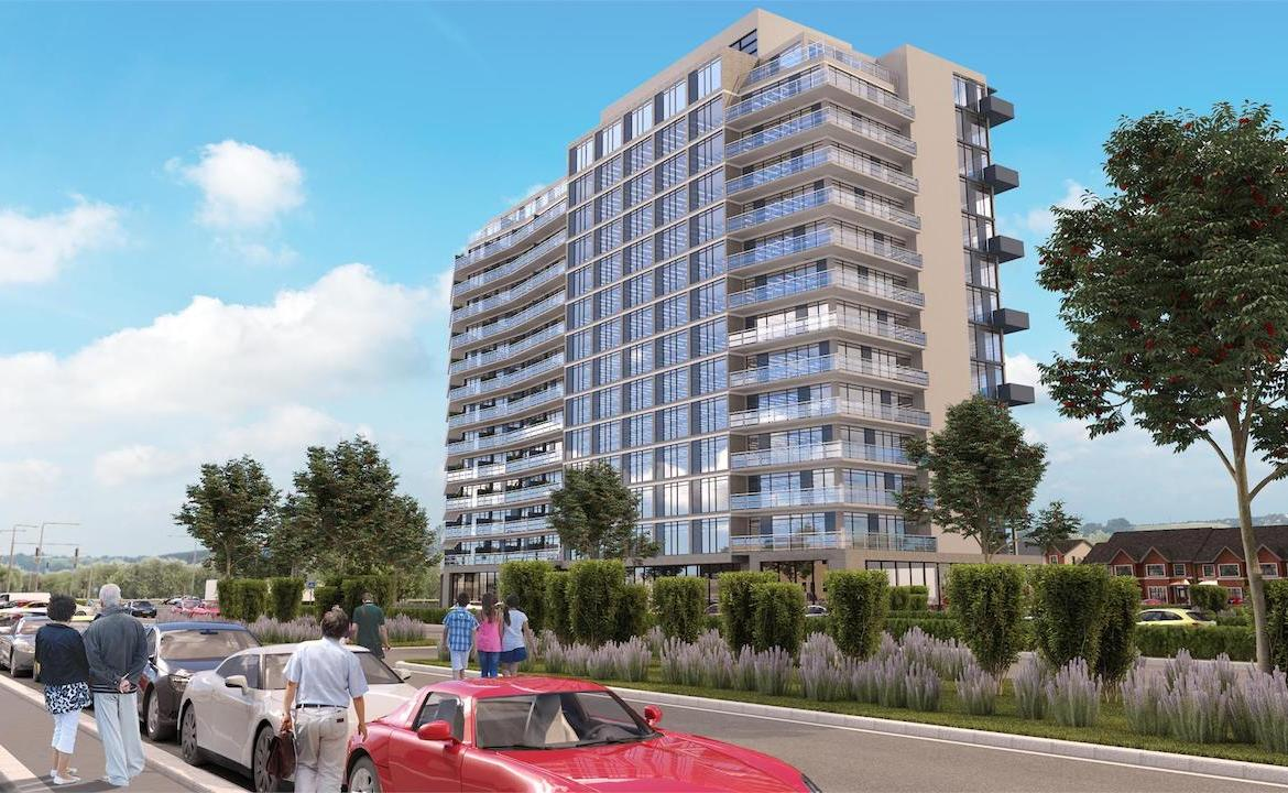 Exterior rendering of LJM Tower Condos with roadway and cars.