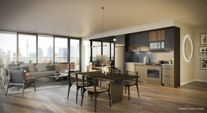 Suite Kitchen interior rendering of No. 31 Parliament Condos.