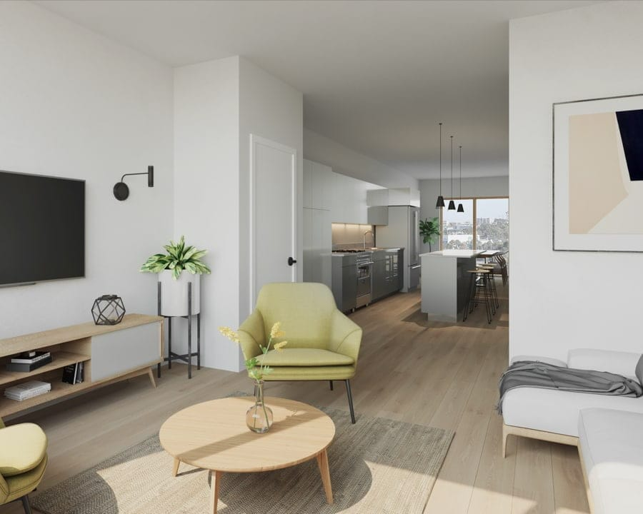 Interior suite living room rendering of Preeminent Lakeshore townhouses.