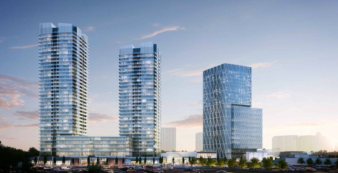 Exterior rendering of Promenade Park Towers phase 1 and 2.