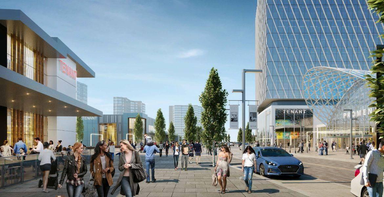 Exterior rendering of Promenade Park Towers shopping walk way outdoors.