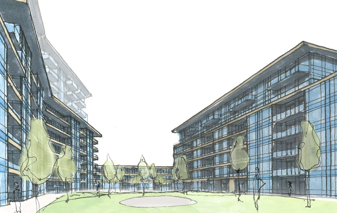 Sketch of 1345 Lakeshore Road Condos courtyard.