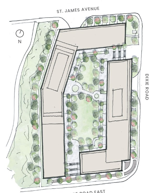 Site Plan of 1345 Lakeshore Road Condos