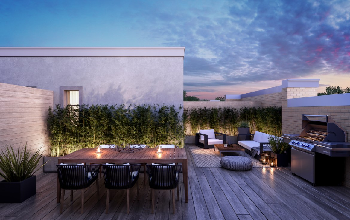 Exterior rendering of The Bond towns rooftop patio at dusk.