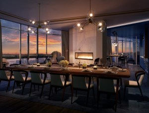 Rendering of The Mackenzie Condos party room at night.