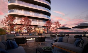 Rendering of The Mackenzie Condos outdoor terrace at dusk.