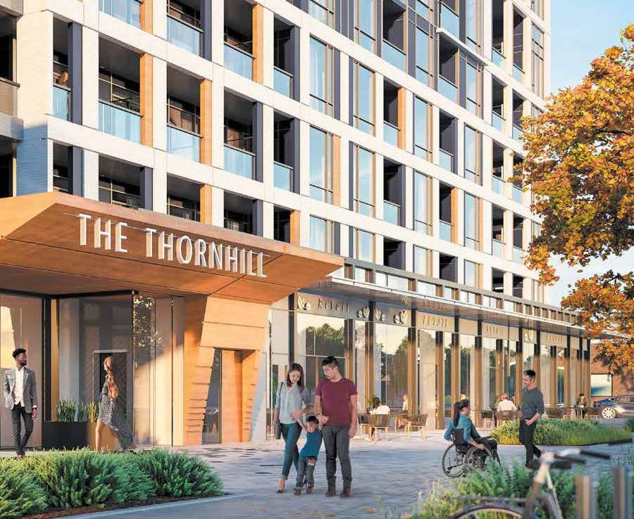 Exterior rendering of The Thornhill Condos building entrance.