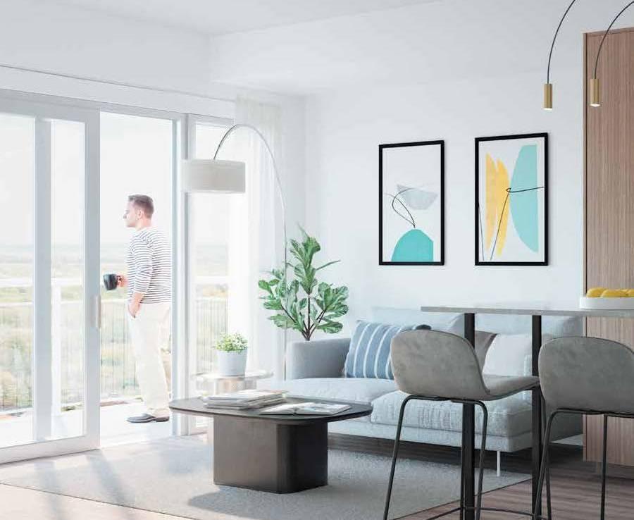 Interior rendering of The Thornhill Condos suite living area.