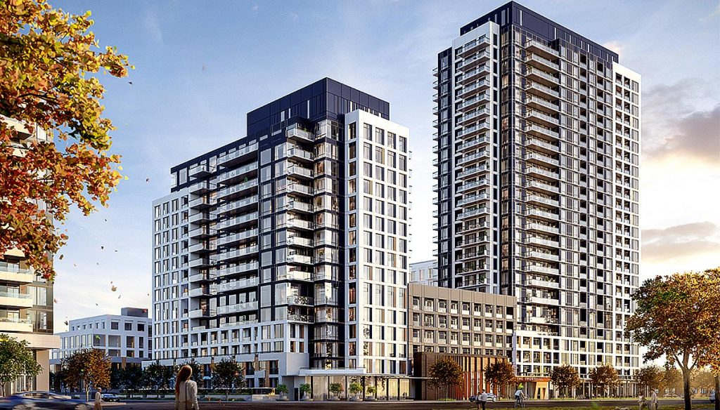 Exterior rendering of The Thornhill Condos - two towers.