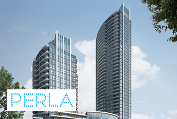 Exterior rendering of Perla Towers with logo overlay.