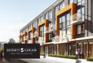 Exterior rendering of 75 Curlew Urban Towns with logo overlay.
