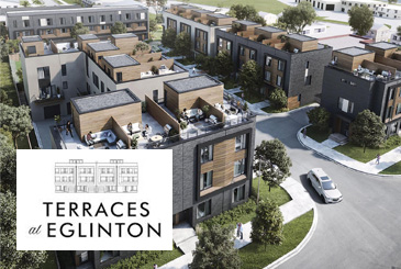 Exterior rendering of Terraces at Eglinton Townhomes with logo overlay.