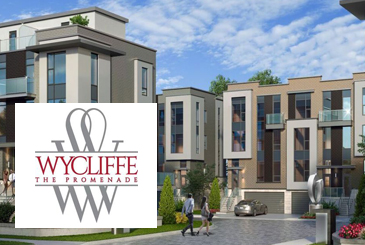 Exterior rendering of the Wycliffe Promenade Towns with logo overlay.