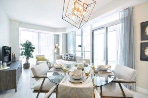 Interior rendering of Perla Towers condo suite dining area.