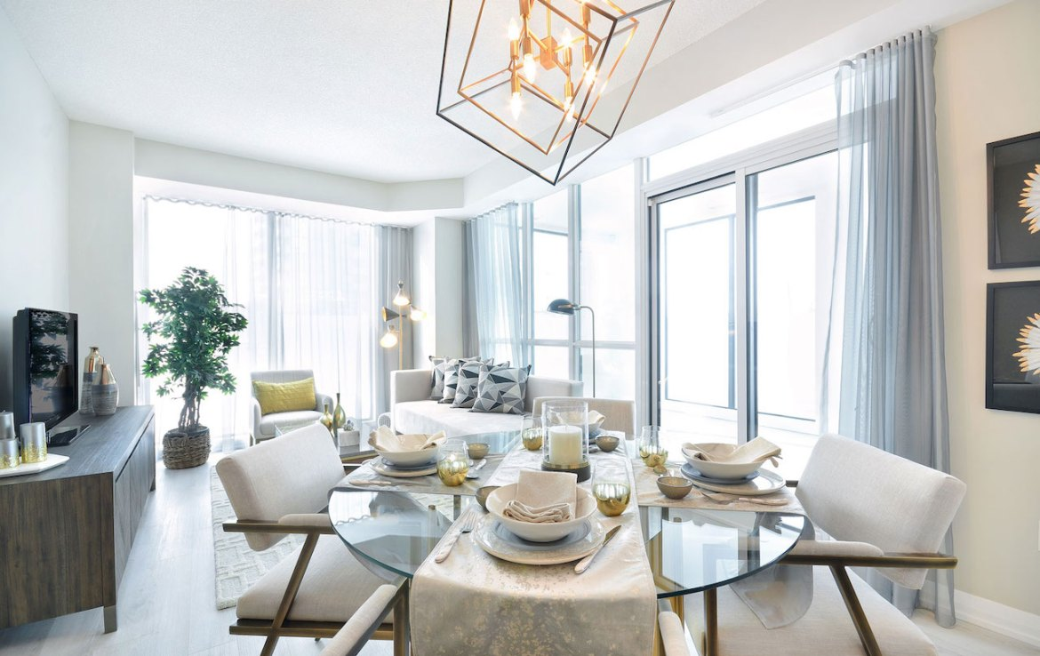 Interior rendering of Perla Towers condo suite dining area.