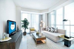 Interior rendering of Perla Towers condo suite living room.