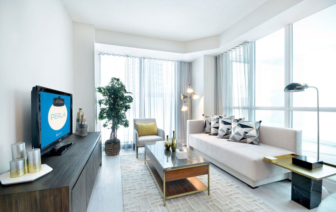 Interior rendering of Perla Towers condo suite living room.