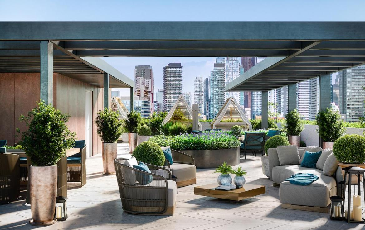 Rendering of 123 Portland Condos rooftop terrace with seating and greenery.