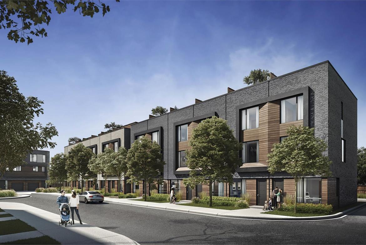 Exterior rendering of Terraces at Eglinton Townhomes.