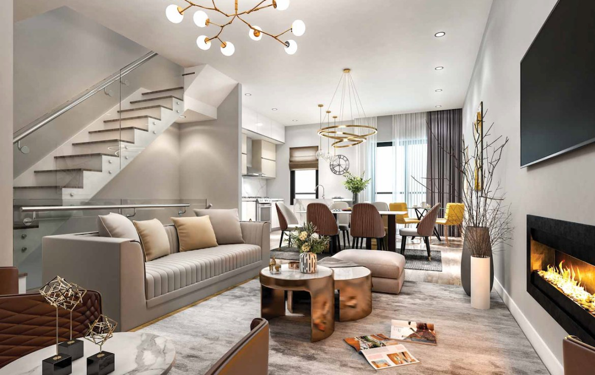 Rendering of Terraces at Eglinton interior living room with fireplace.