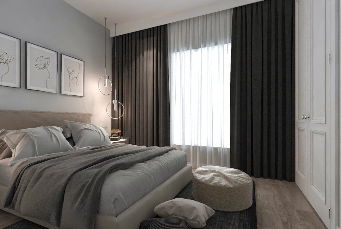 Rendering of Terraces at Eglinton interior bedroom with large windows.
