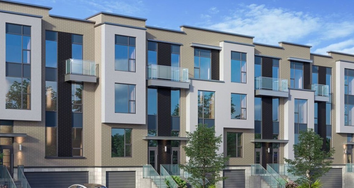 Exterior rendering of the Wycliffe Promenade Towns with blue sky.