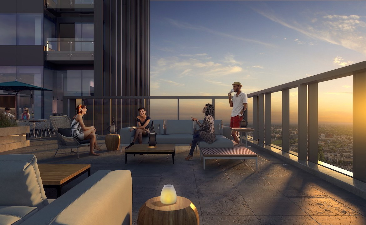 Rendering of SKY Residences at ICE District rooftop lounge with BBQs.